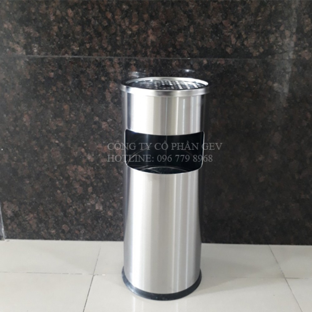 Thùng rác inox có gạt tàn thuốc lá A35-A